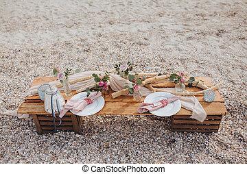 Decor of table on the beach