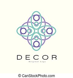 Decor original logo, creative badge for company identity, furniture shop, craft store, advertising, poster, banner, flyer vector Illustration on a white background