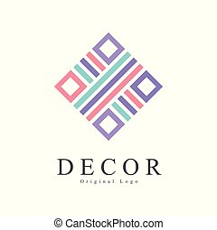 Decor original logo, creative sign for company identity, furniture shop, craft store, advertising, poster, banner, flyer vector Illustration on a white background