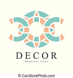 Decor original logo design, creative sign for company identity, furniture shop, craft store, advertising, poster, banner, flyer vector Illustration on a white background