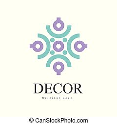 Decor original logo, design element for company identity, furniture shop, craft store, advertising, poster, banner, flyer vector isolated on a white background