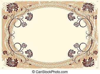 decor, oud, ouderwetse , frame, vector, achtergrond, tekst, floral