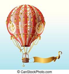 decor, ouderwetse , balloon, vliegen, lucht, warme, vector