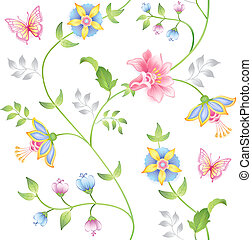 Decor floral elements seamless set isolated on white background (vector)