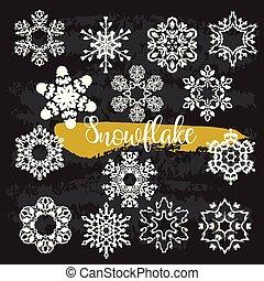decor, winter, clipart, kleur, sneeuwvlok, black , kerstmis
