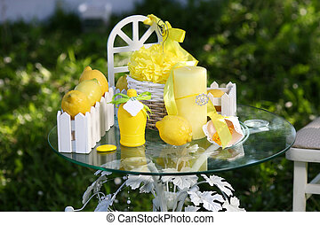 decor with lemon on table
