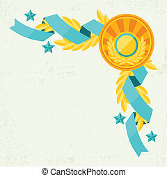 Decor with ribbons and awards in flat design style.