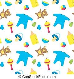 decor, wrapping., mal, kleurrijke, troffel, spullen, pet, pattern., vest, /, pasgeboren, geboren, kubus, beer, fles, pacifier, baby speelgoed, booties.