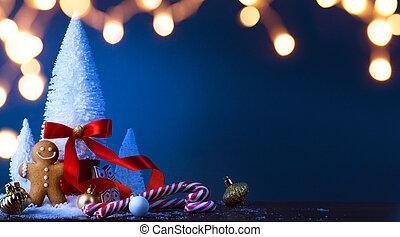 decoração, árvore, arte, natal, doce