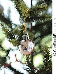 decoração, árvore, bola, natal, fundo