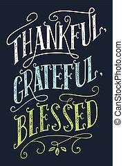 decoração, abençoado, agradecido, sinal, lar, grato