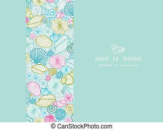 decoração, arte, padrão, seamless, fundo, seashells, linha, horizontais