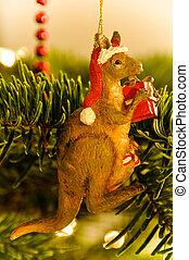 decoração, australiano, árvore, canguru, natal