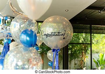 decoração, balões, restaurant., parabéns, palavra