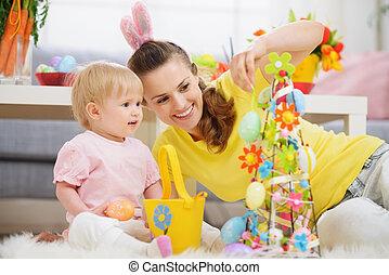 decoração, bebê, páscoa, fazer, mãe