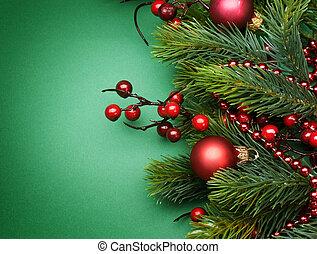 decoração, borda, desenho, natal