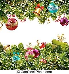 decoração, borda, natal
