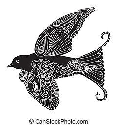 decoração, bordado, andorinha