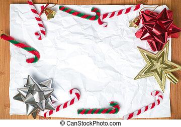 decoração, branca, papel, natal, fundo