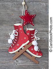 decoração, branca, patins figura