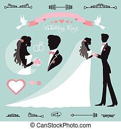 decoração, casório, silueta, noiva, set.flat