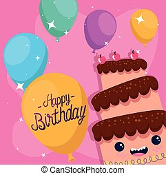 decoração, cereja, balões, bolo, feliz