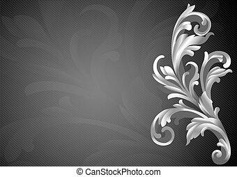 decoração, clássicas, 3d, elemento