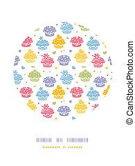 decoração, coloridos, padrão, cupcake, fundo, partido, círculo