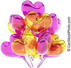 decoração, corações, balões, partido