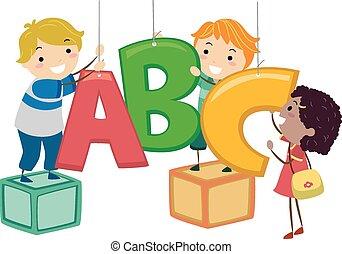 decoração, crianças, stickman, abc