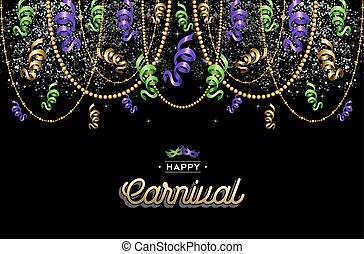 decoração, desenho, carnaval, fundo, feliz