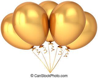 decoração, dourado, balões, partido