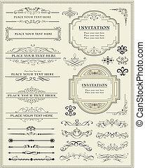 decoração, elementos, desenho, página, calligraphic