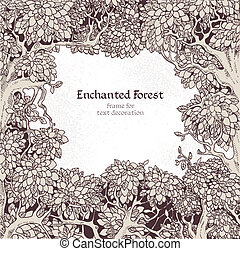 decoração, encantado, quadro, floresta