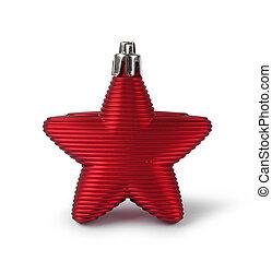 decoração, estrela, Natal, vermelho