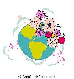 decoração, flor, clipart, coroa, vector., terra, caricatura