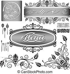 decoração floral, elementos, jogo, página