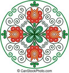decoração, floral, quadro, arredondado, húngaro