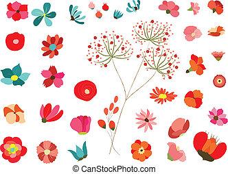 decoração, flores, jogo
