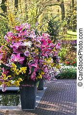 decoração, flores mola, vasos