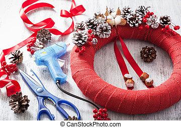 decoração, grinalda, feito à mão, diy, natal, fazer, vermelho