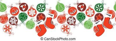 decoração, horizontais, borda, seamless, natal