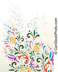 decoração, ilustração, multicolored, floral