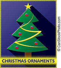 decoração, ilustração, ornamentos natal, 3d, xmas, mostra
