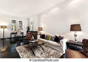 decoração interior, sala, vivendo
