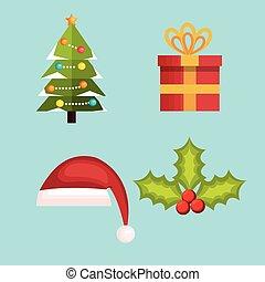 decoração, jogo, desenho, Natal, Feliz