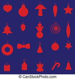 decoração, jogo,  eps10, Natal, vermelho