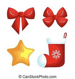 decoração, jogo, Natal, ícones
