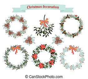 decoração, jogo, Natal, elementos