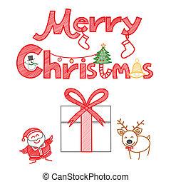 decoração, jogo, natal, feliz